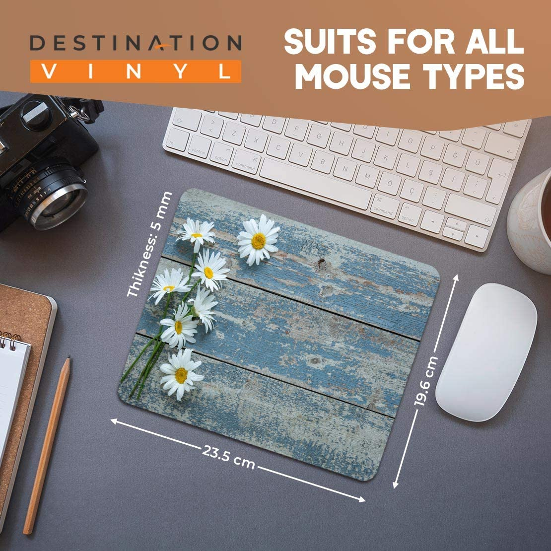 Daisy Mousemat Daisies Yellow Flower Spring Floral Cute Mouse Mat Flowers a207