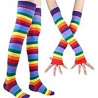 Qkpar Women's Rainbow Striped Socks Over Knee Stockings And Long Fingerless Gloves