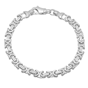 6.1mm Solid 925 Sterling Silver Byzantine Link Italian Crafted Bracelet, 9