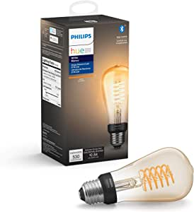 Philips Hue White Filament ST19 LED smart vintage bulb, Bluetooth & Hub compatible (Hue Hub Optional), voice activated with Alexa – A Certified for Humans Device