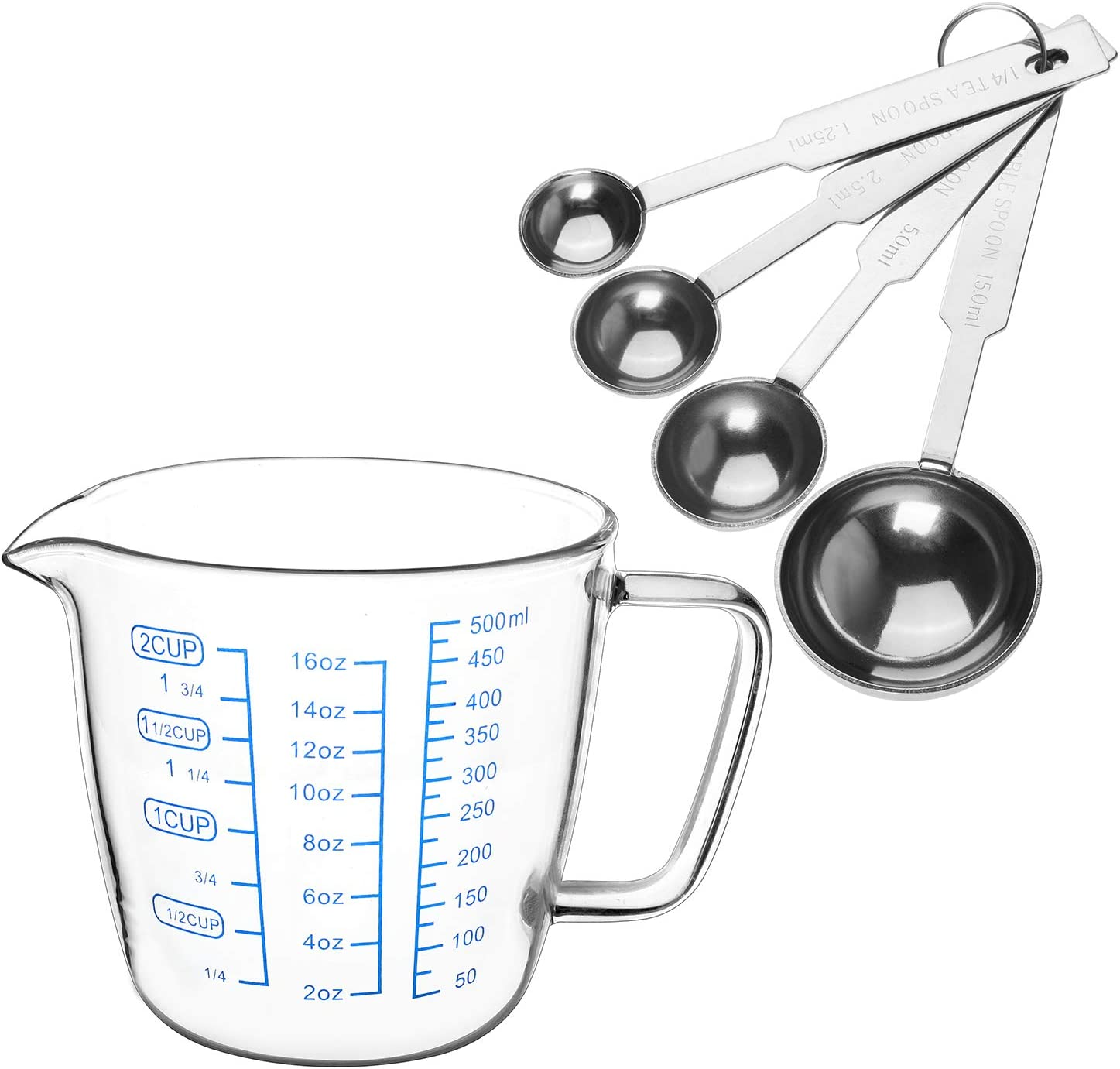 Measuring Cups and Measuring Spoons , Glass Measuring Cup ( 16 OZ - 500ml- Includes 1-cup, 2-cup) -Clear, and Stainless Steel Measuring Spoons Set 4 Piece