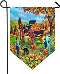 Oarencol Autumn Spring Loadin Pumpkins Kid Dog Horse Garden Flag Maple Leaves Landscape Thanksgiving Double Sided Home Yard Decor Banner Outdoor 12.5 x 18 Inch