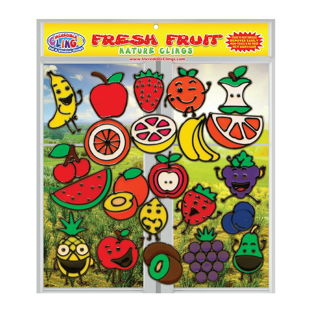 Fresh Fruit Gel Clings for Kids and Adults (22 Piece Set) - Banana, Apple, Strawberry, Cherry and More 3D Vinyl Window Clings - Reusable on Glass Surfaces, Smooth Walls, Flower Vases, Classrooms