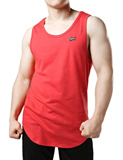 ff35ca221184d JOGAL Tank Top for Men Muscle Shirts Solid Color Long Length Curved Hem