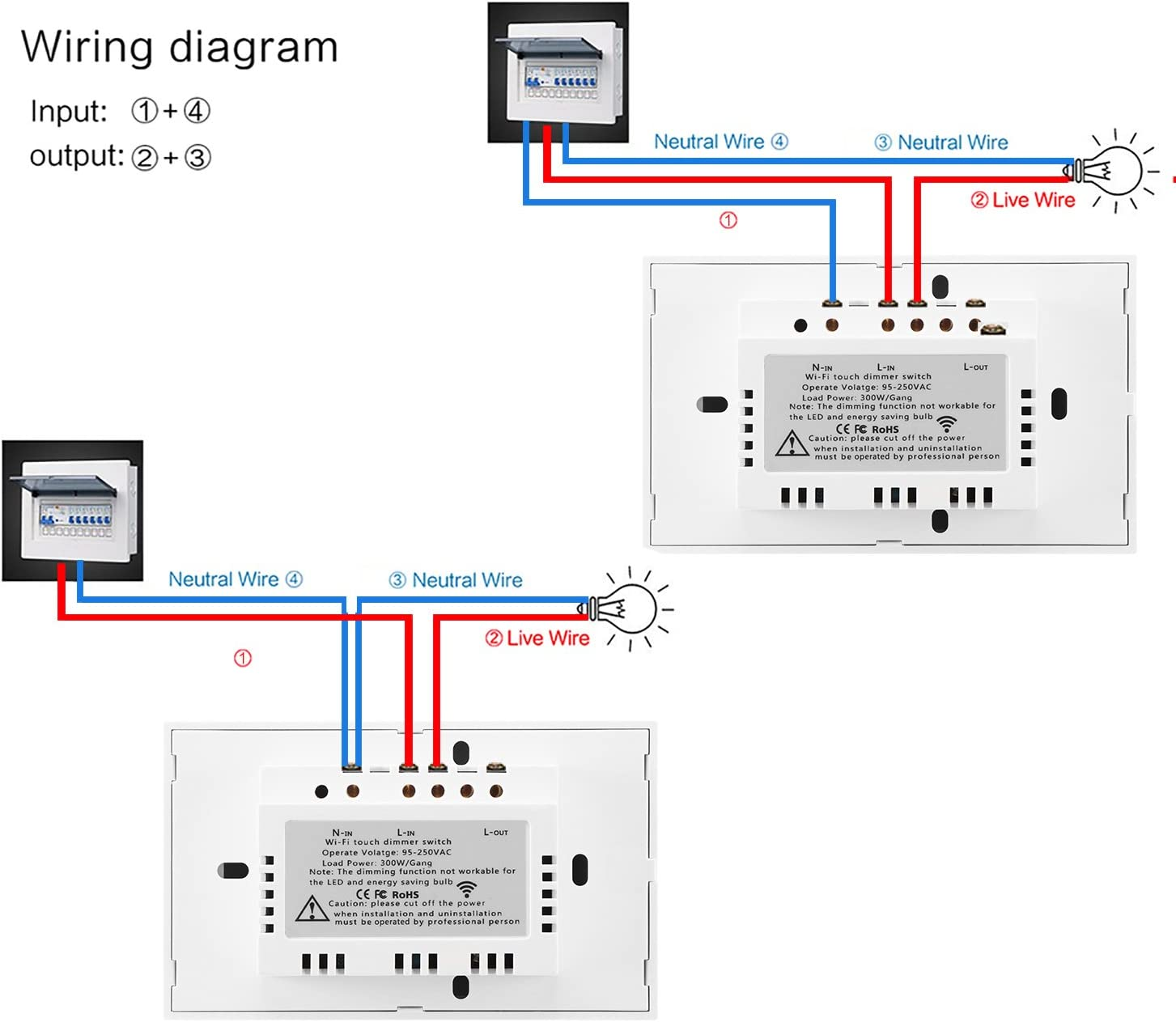 touch dimmer wiring diagram amazon com ourleeme smart wifi dimmer light switch  wall mounted  ourleeme smart wifi dimmer light switch