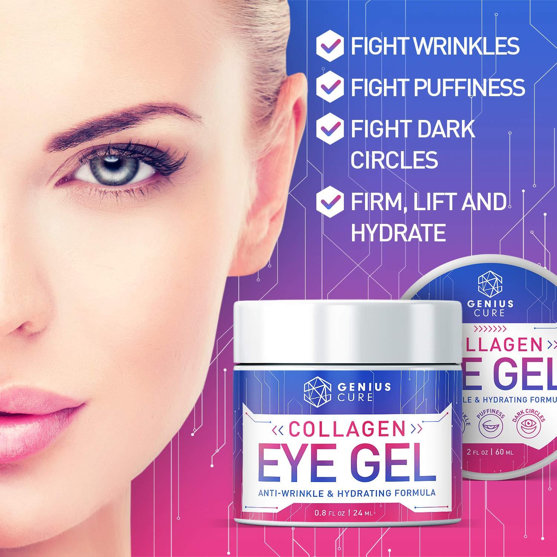 Collagen Eye Gel, Under Eye Gel Treatment for Reducing Dark Circles, Moisturizing, Targets Wrinkles Anti-Aging, Fine Lines, Eye Bags, Puffiness for Women Men 2oz: Beauty