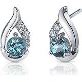 London Blue Topaz Earrings Sterling Silver Checker Cut