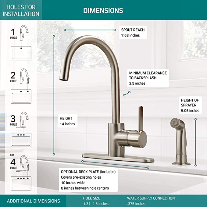 Peerless Precept Single-Handle Kitchen Sink Faucet with Side Sprayer, Stainless P199152LF-SS