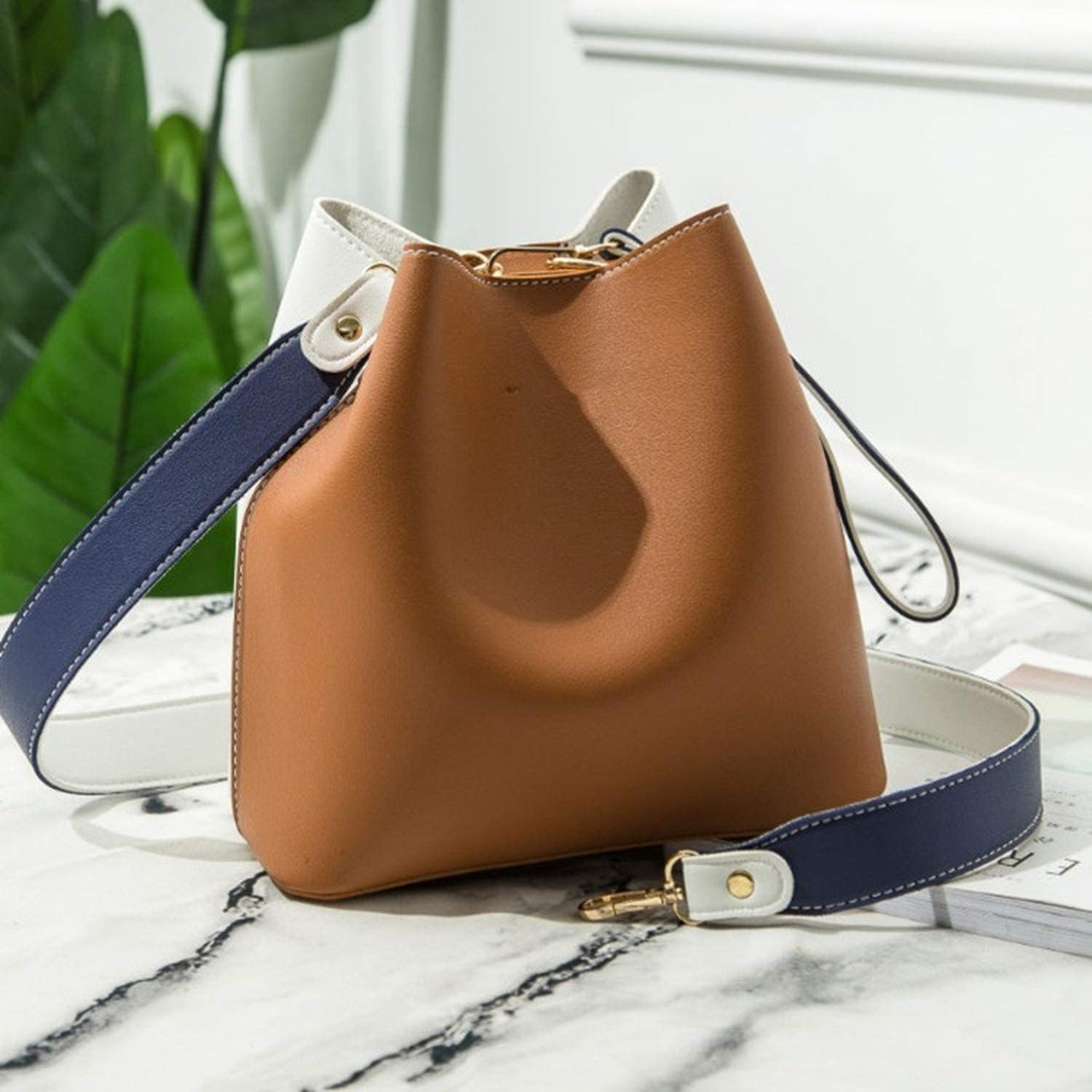 Women Bag Fashion New Contrast Stitching Bucket Bag PU Leather Shoulder Crossbody Bags Casual Simplicity Mini Tote Ladies