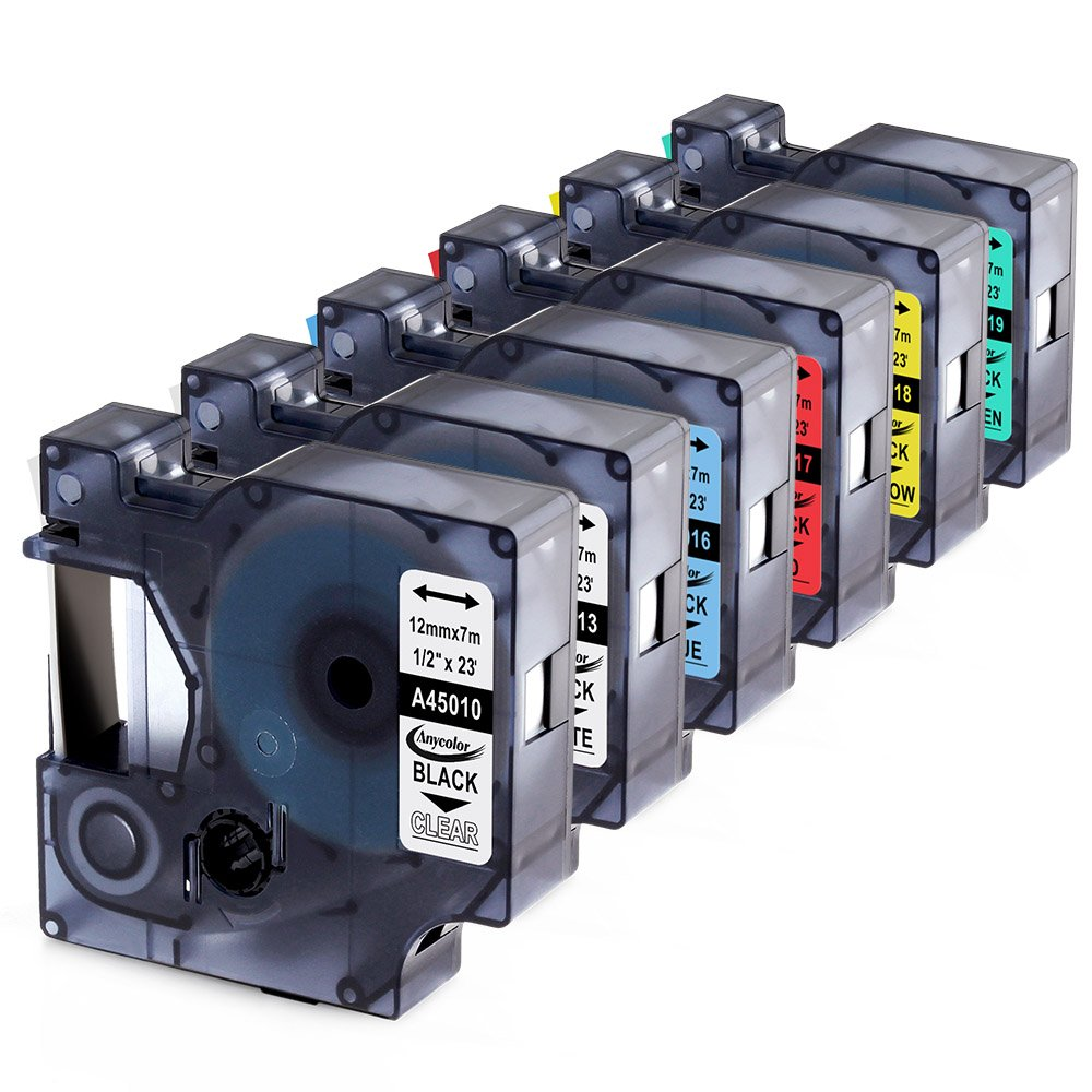 Anycolor 6 Pack Compatible DYMO D1 Label Tapes Combo Set Replacement DYMO 45010 45013 45016 45017 45018 45019 for DYMO LabelManager 160 280 420P PnP 220P 360D 450 210D