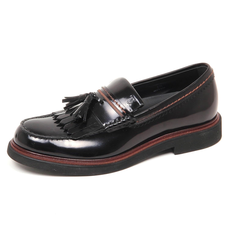 E7878 Mocassino uomo Black Tod's Scarpe Shiny Leather Loafer Shoe Man Nero