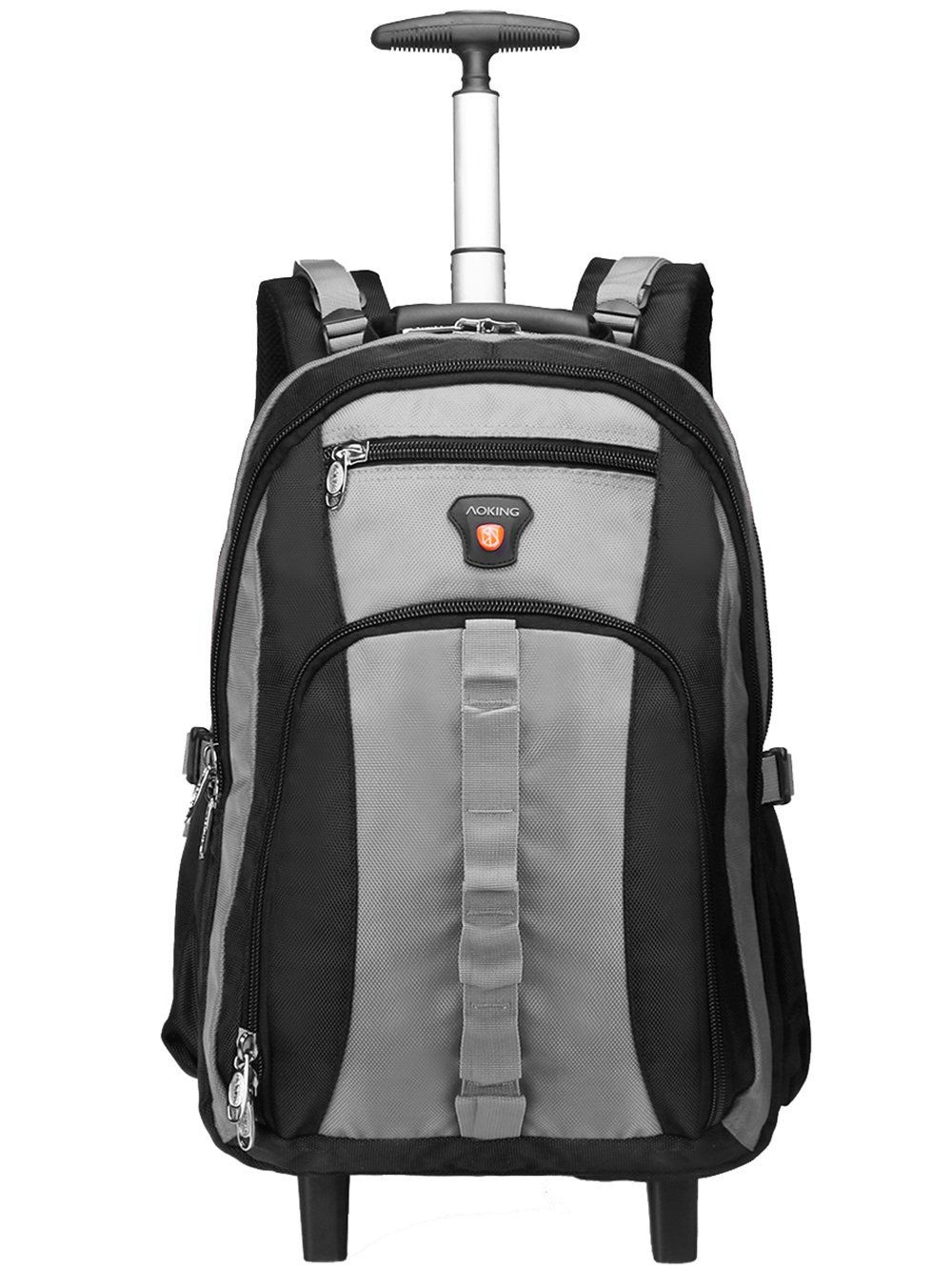 AOKING 20/22 Inch Water Resistant Travel School Business Rolling Wheeled Backpack with Laptop Compartment Grey 22''