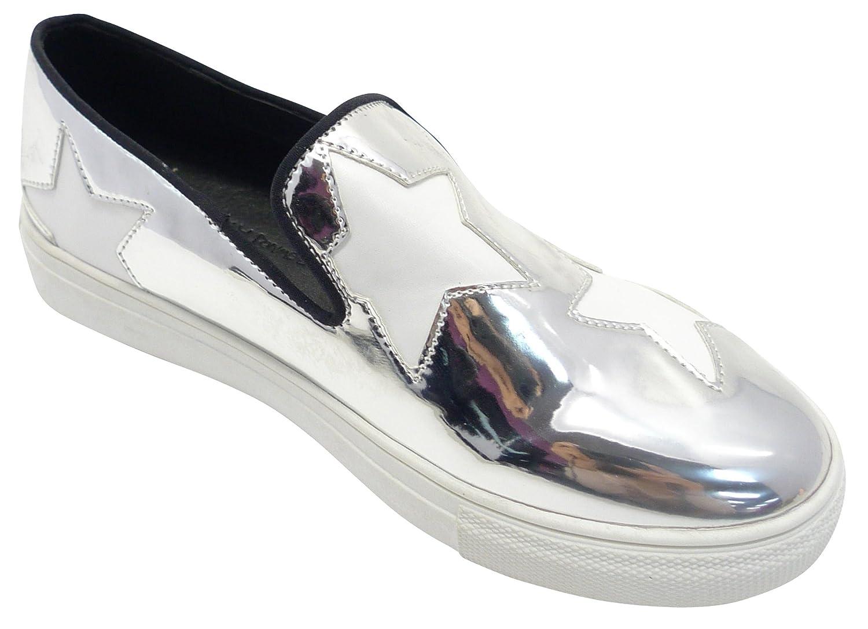 Cambridge Select Women's Slip-On Pattern Closed Round Toe Star Pattern Slip-On Loafer Fashion Sneaker B0788832MP 7.5 B(M) US Silver 88f845