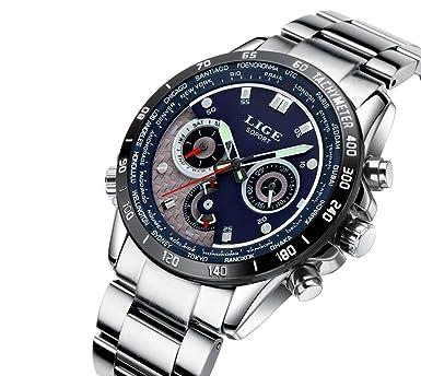 Relojes de Hombre Cronógrafo De Cuarzo De Moda Para Caballero Caja de Acero Inoxidable RE0112