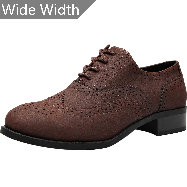 170ecc589 Amazon.com | Aukusor Women's Wide Width Brogue Oxfords - Classic Lace up Low  Heel Urban Formal Oxford Shoes. | Shoes