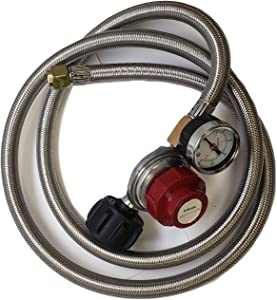 Adjustable 0-30PSI HIGH Pressure ONLY Propane Regulator 5 FEET SS Braided Hose-Type1 (QCC1) and 3/8 Female Flare Swivel Fitting - with Gauge for Forge/Foundry, Food Truck, Fryer, Gas Stove