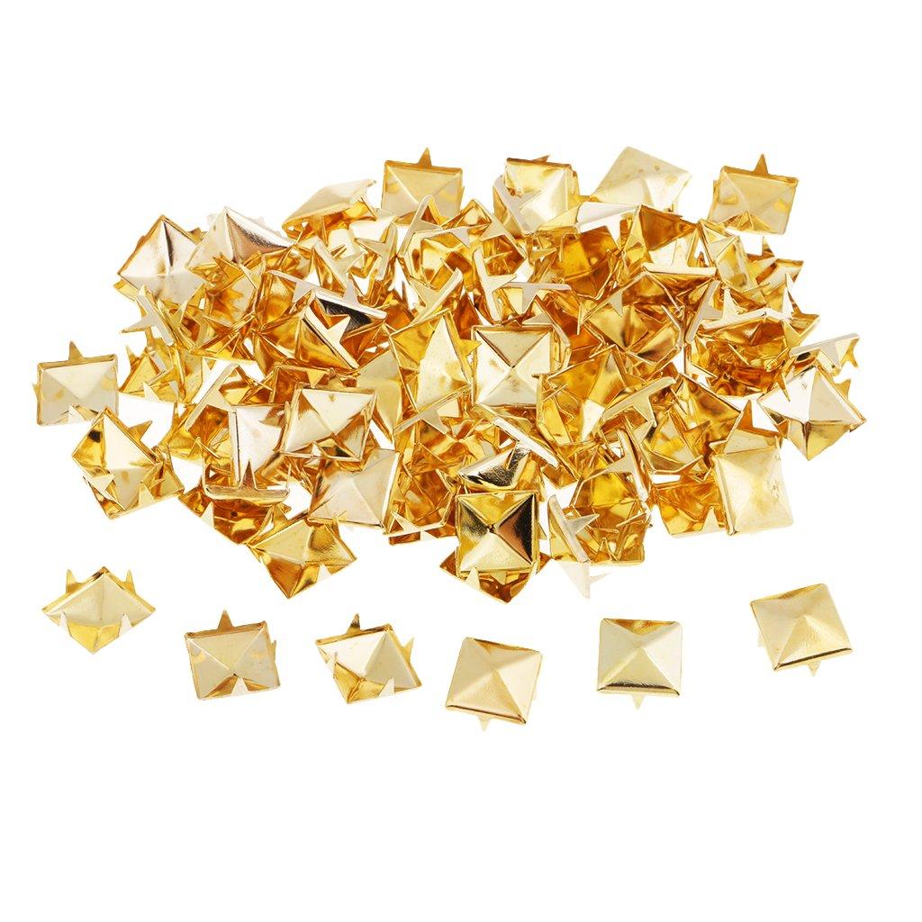 6 mm Homyl 100 St/ück Pyramidennieten Pyramiden Nieten Platz Ziernieten Set Gold