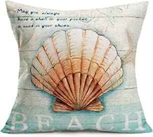 "Tlovudori Vintage Ocean Beach Shell Throw Pillow Covers Wooden Coastal Sea Scallop Inspirational Quote Words Decorative Cotton Linen Cushion Cover Gift Decor Home Sofa Bed 18""x18"" (Beach Scallops)"