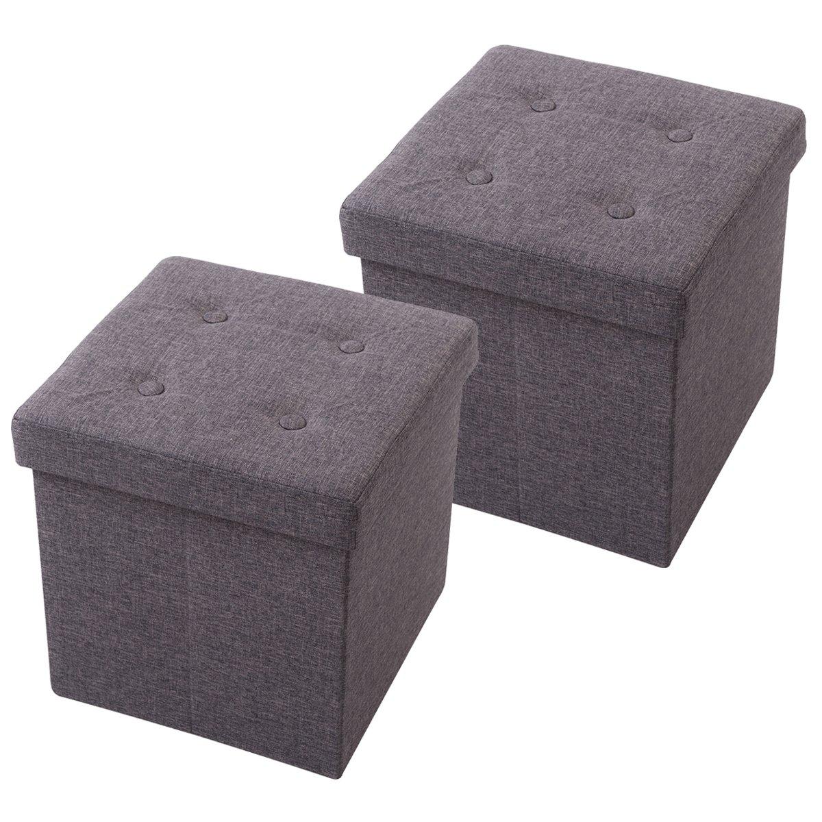 Kokomix Polyester Folding Storage Ottoman Cube Foot Rest Stool Seat, Dark Gray, Set of 2