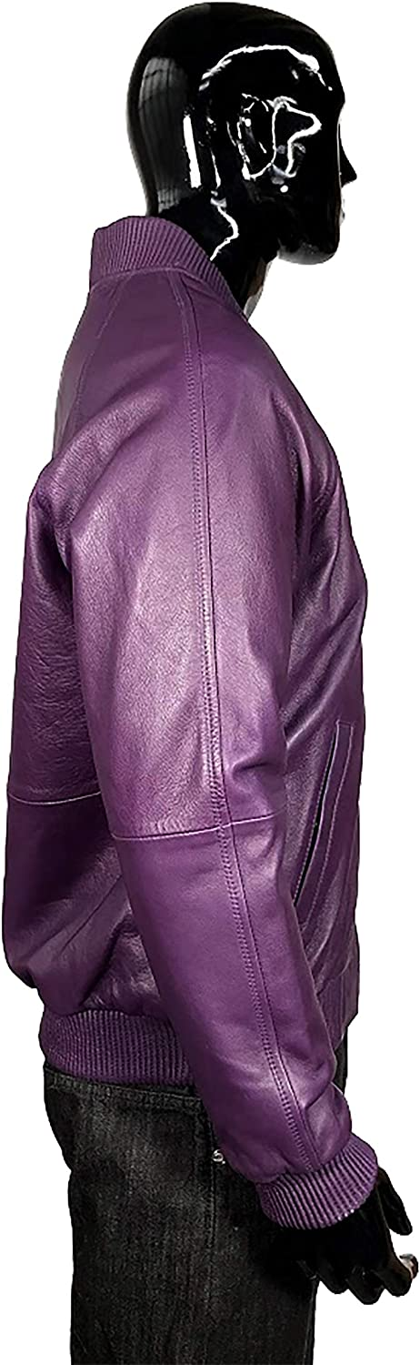 Jakewood Mens Leather Bomber Baseball Varsity Spring Jacket Real Lambskin Leather Regular and Big /& Tall Sizes
