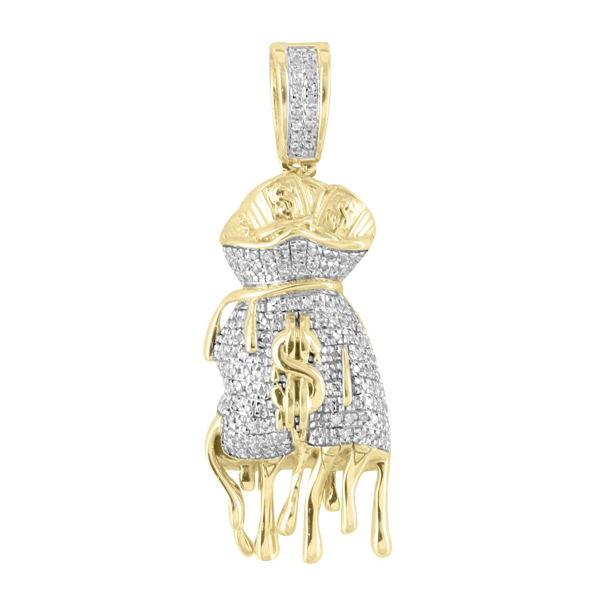 Dripping Money Bag Pendant 10k Yellow Gold Genuine Diamonds 1.6 Inch Charm New