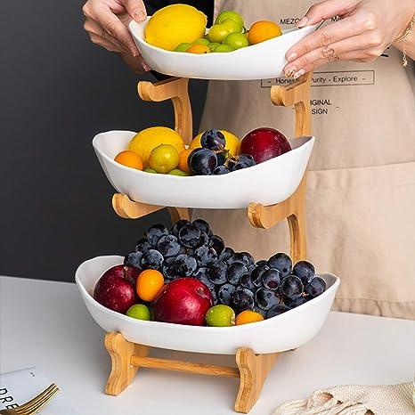 Rateim Fruit Plate Three-layer Snack Rack Living Room Wedding Cake Candy Fruit Tray Tie Racks