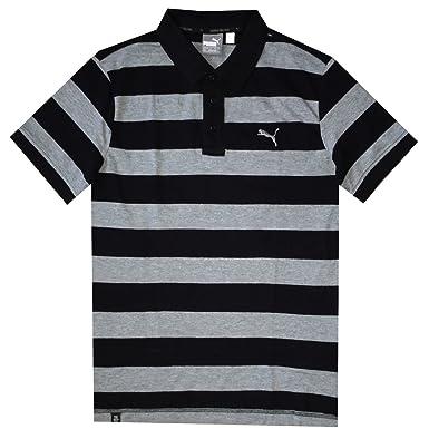 PUMA Men DryCell Striped Pique Polo T-Shirt (M, Cotton black-medium