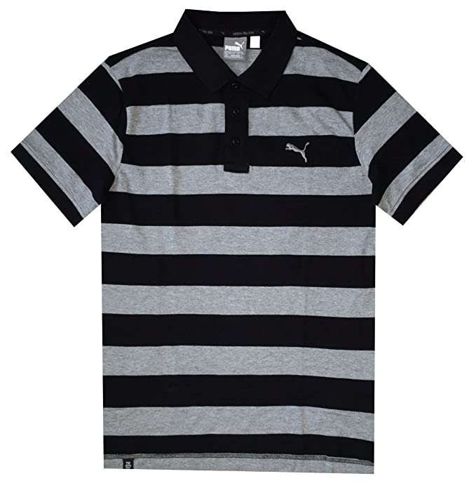 089f6b31c2 Amazon.com: PUMA Men DryCell Striped Pique Polo T-Shirt (M, Cotton black-medium  gray): Sports & Outdoors