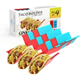 GINKGO Taco Holder Stand Set of 4 - Premium Large Taco Truck Tray Style Rack with Handles Holds Up to 3 Tacos Each, PP…