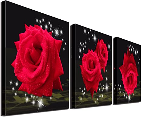 Flowers Themed Painting Rose gift Wall Art Decor Queen of flowers Canvas Picture Print Poster for Living Room Bedroom