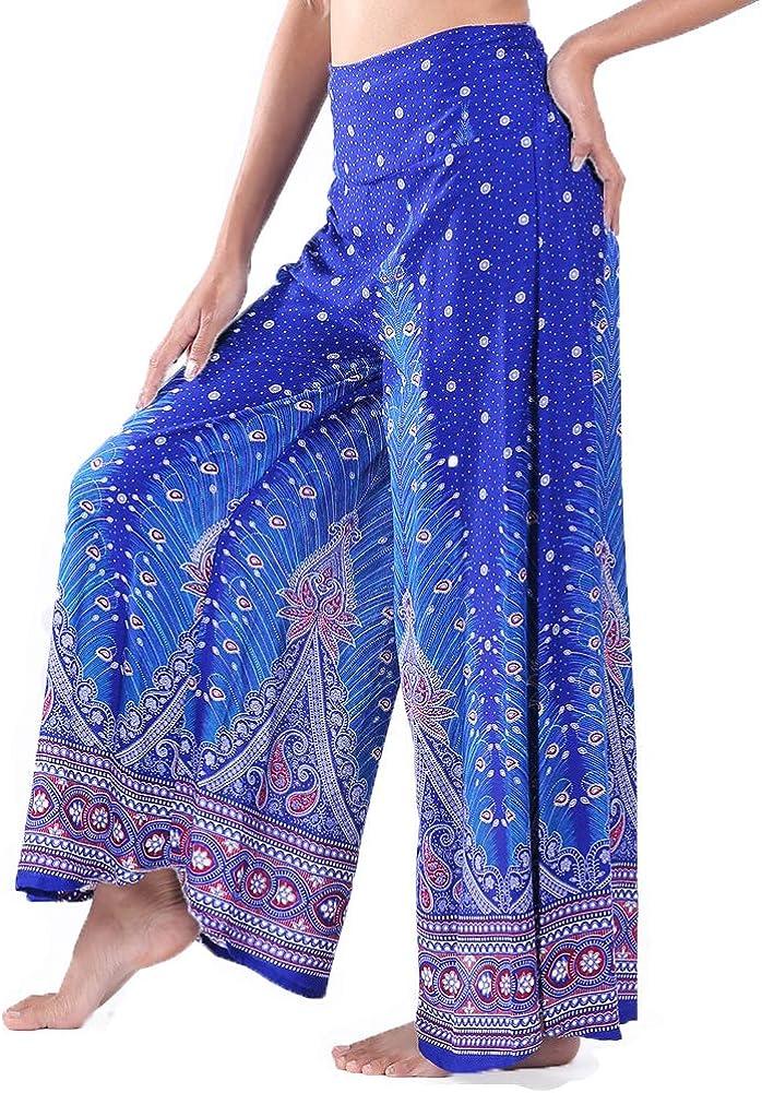 Lofbaz Womens Wide Leg Palazzo Pants Yoga Lounge Hippie Harem Flowy Trousers