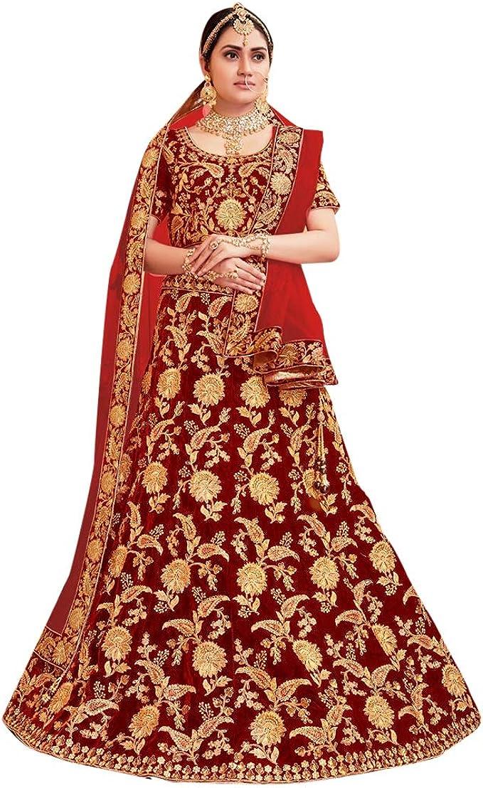 Wedding Lehenga Indian Women Bollywood Velvet Party Wear Bridal Lengha Choli