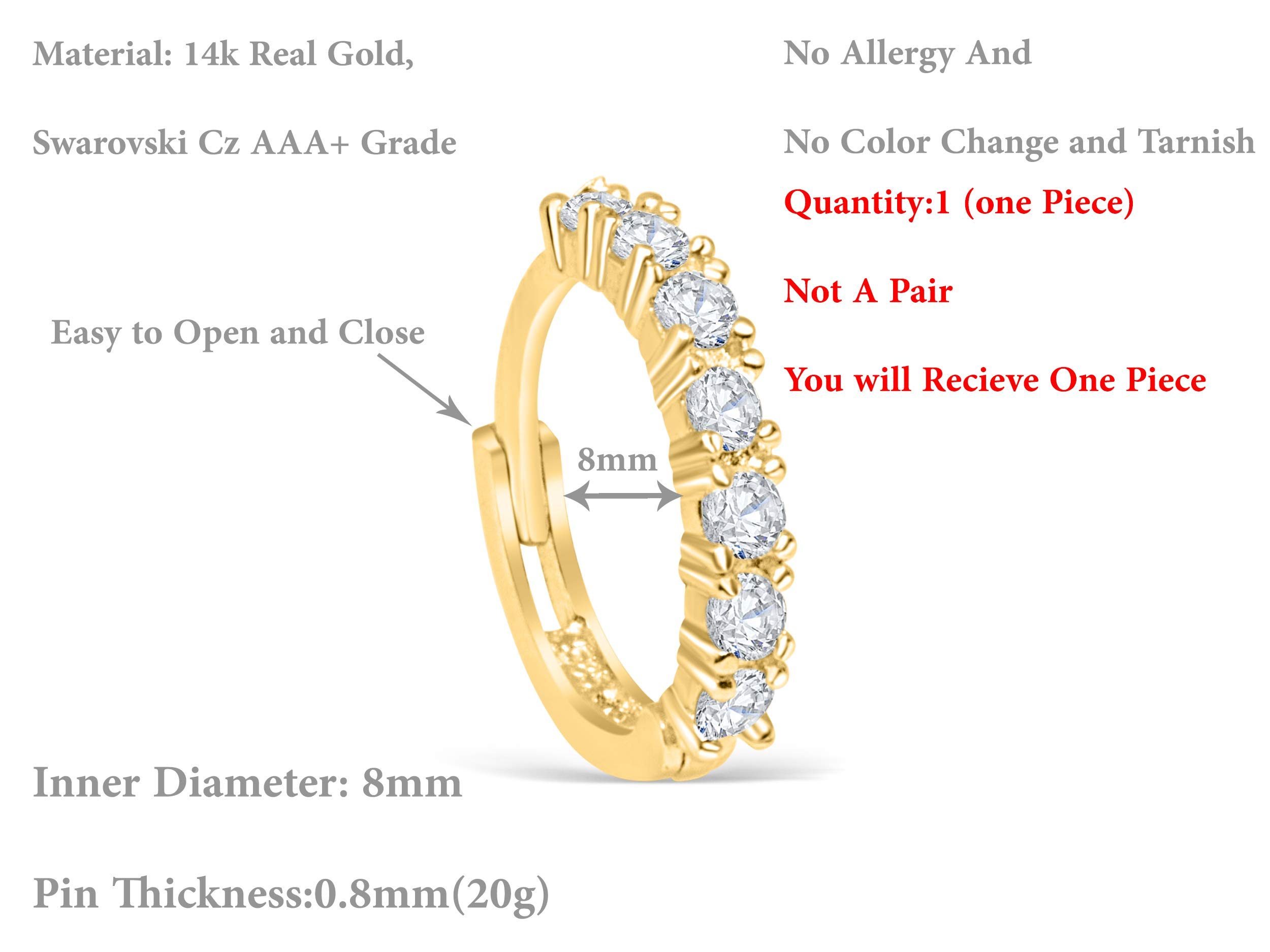 14K Real Solid Gold Jewelry Cz 8mm Open Round Circle Tragus Cartilage Snug Inner Outer Conch Daith Helix Ear Segment Clicker Huggie Hoop Ring Piercing Earring For Women by ONDAISY (Image #2)