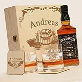 """Caisse en bois avec jack daniels no.7 6 pièces de whisky new york bar coffret cadeau avec gravure """"motif bannière en fût"""""""
