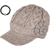 J-Fashion Women's Cable Knitted Double Layer Visor Beanie Hats with Hair Tie