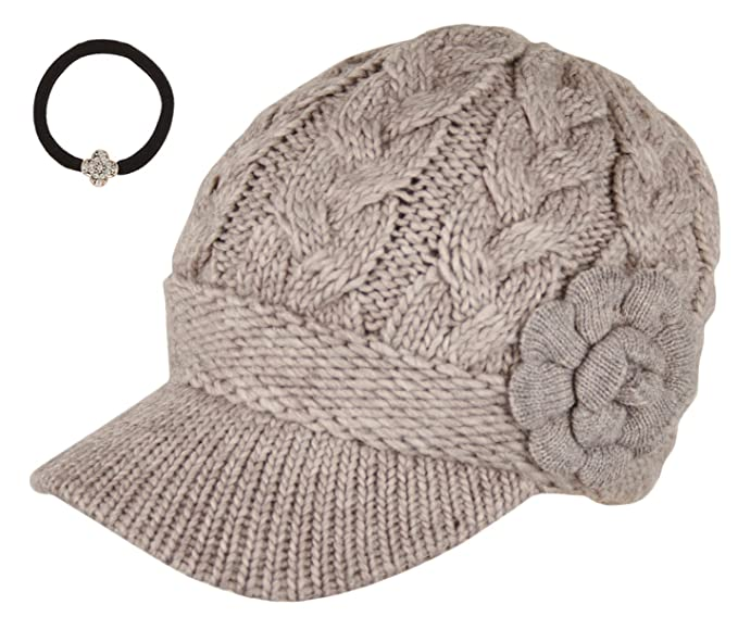 Women s Winter Cable Knitted Double Layer Visor Beanie Hat with Rossette  Floral (Beige) c2020dc28b3b