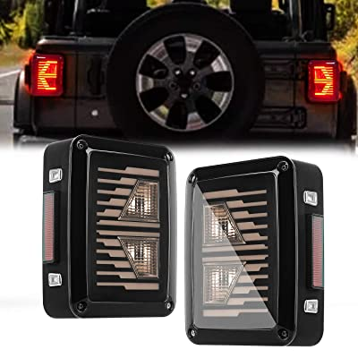 LED Tail Lights for Jeep Wrangler, AAIWA Brake Reverse Light Rear Back Up Lights Turn Signal Daytime Running Lamps for 07-17 Jeep Wrangler, 1 Year Warranty: Automotive