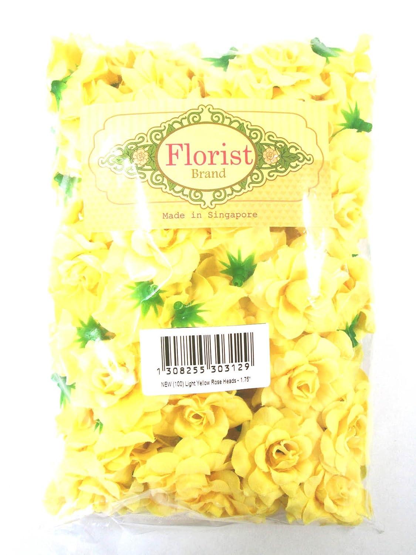 Amazon 100 Silk Light Yellow Roses Flower Head 175