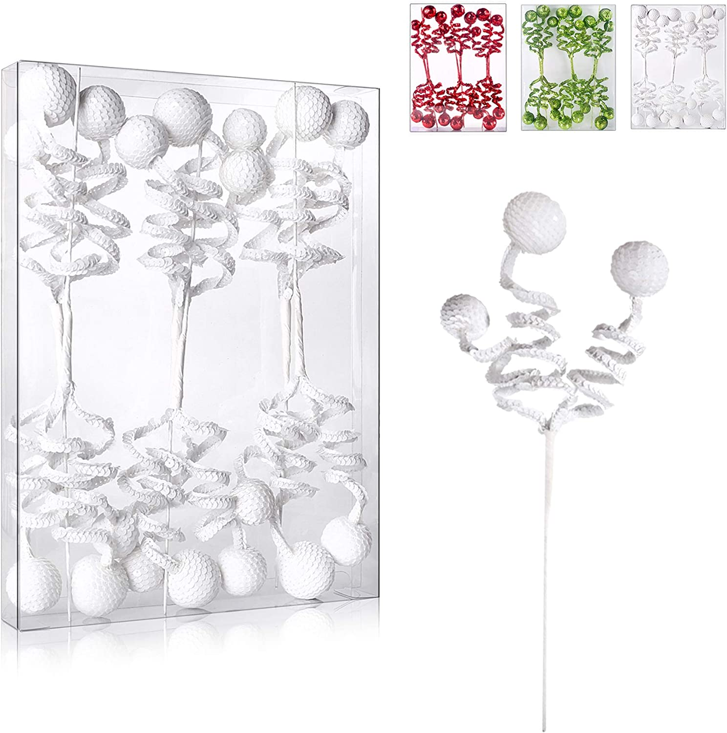 """ZHANYIGY 6PC Set 14.5"""" White Christmas Tree DecorationSequins Ball Curly Pick, Christmas Tree Decorations Christmas Tree Topper Star Home Office Perfect Party DecorationsGifts"""