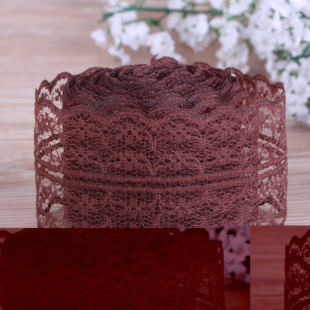 CALISTOUK Beautiful Colorful 4.5CM 10 Yards Retro Embroidered Lace Trim Ribbon DIY Craft Sewing Decor,Red