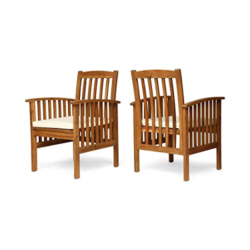 Great Deal Furniture Phoenix Acacia Patio Dining Chairs, Acacia Wood with Outdoor Cushions, Brown Patina and Cream Set of 2