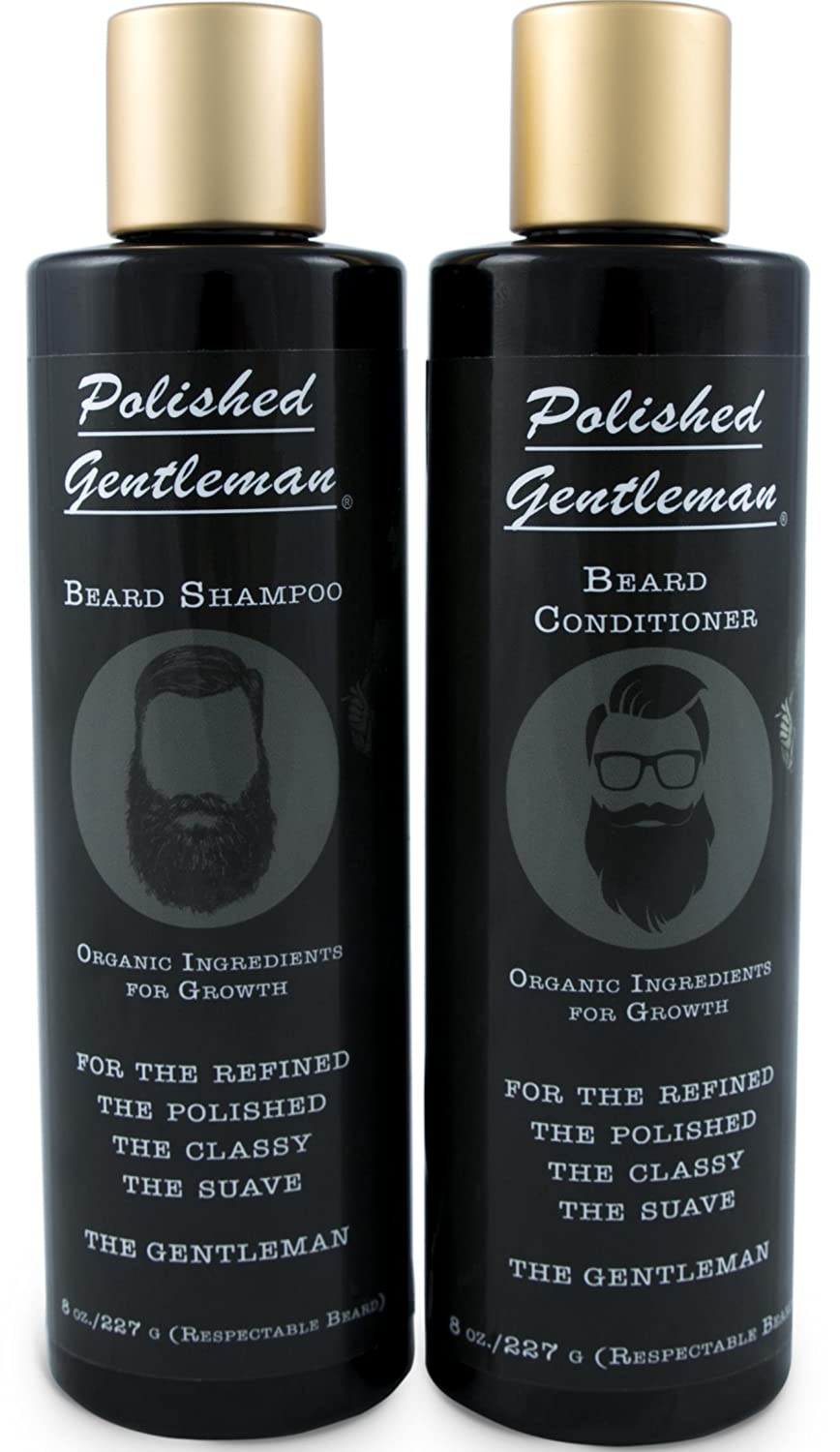 Beard Growth and Thickening Shampoo and Conditioner Set - Beard Care With Organic Beard Oil - Facial Hair Growth For Men - For Younger Looking Beard - Rapid Beard Growth (8 oz) - Made by USA Polished Gentleman
