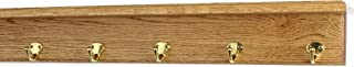 "product image for PegandRail Oak Shelf Coat Rack with Solid Brass Single Style Hooks (Golden Oak, 26"" with 5 Hooks)"