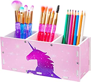 MHJY Unicorn Pencil Holder Organizer Makeup Brush Holder, 3 Slots Cosmetic Pen Desktop Stationery Organizer for Office,Classroom,Home,Pink