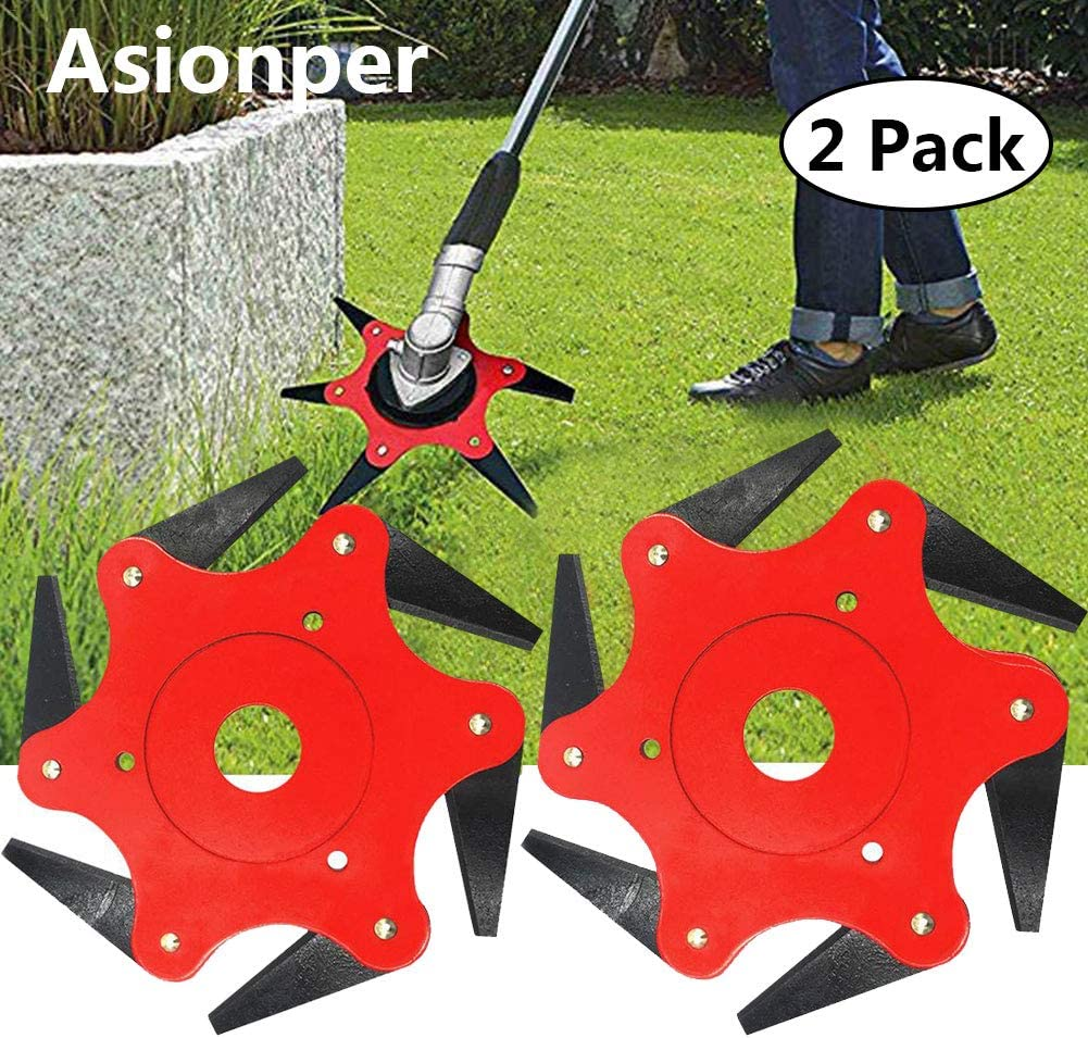 Asionper Outdoor Trimmer Manganese Head 6 Steel Blades Lawn Mower Grass Weed Eater Brush Cutter Tool Grass Cutter Head Steel Blade Razors