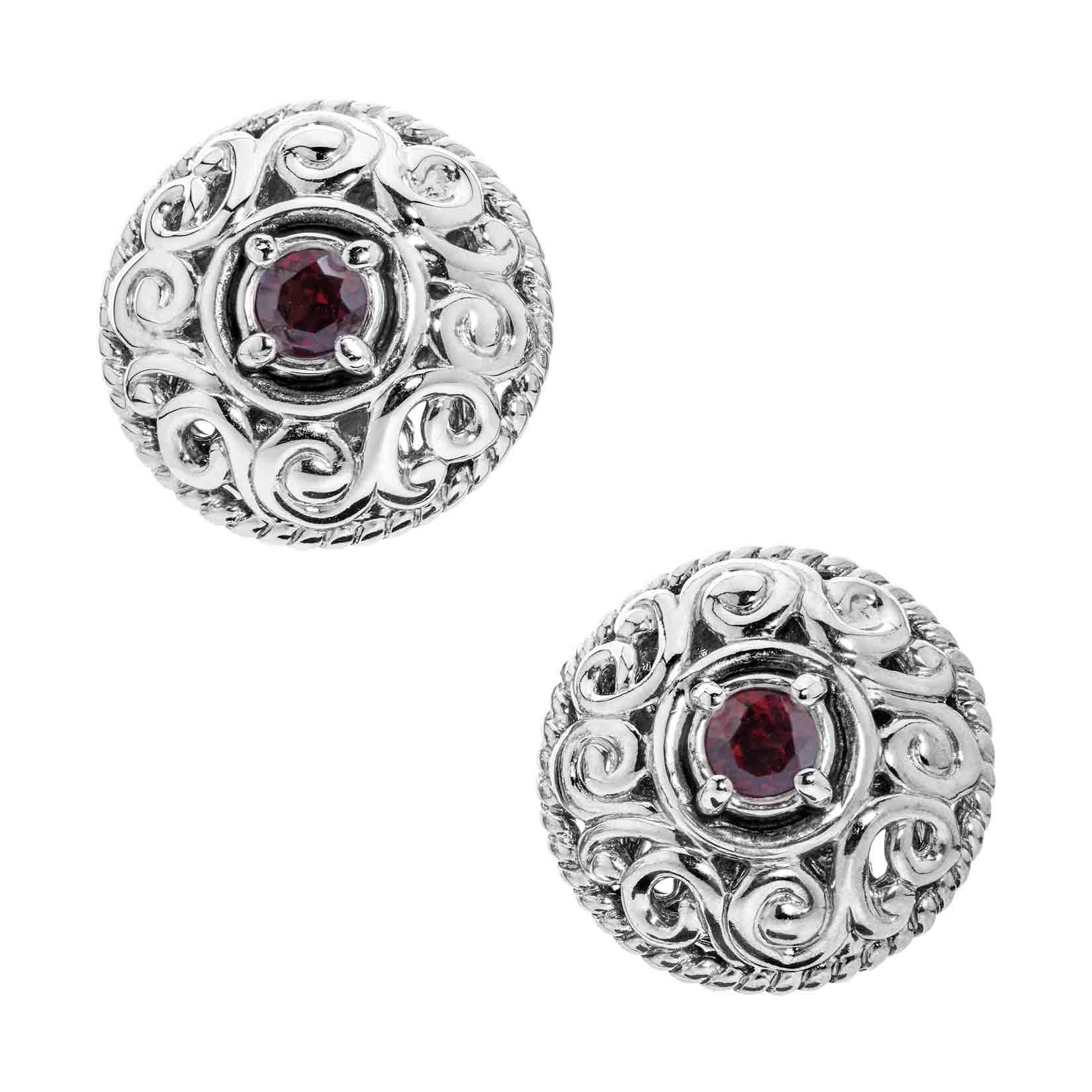 Carolyn Pollack Genuine .925 Sterling Silver Red Garnet Birthstone Button Earrings by Carolyn Pollack