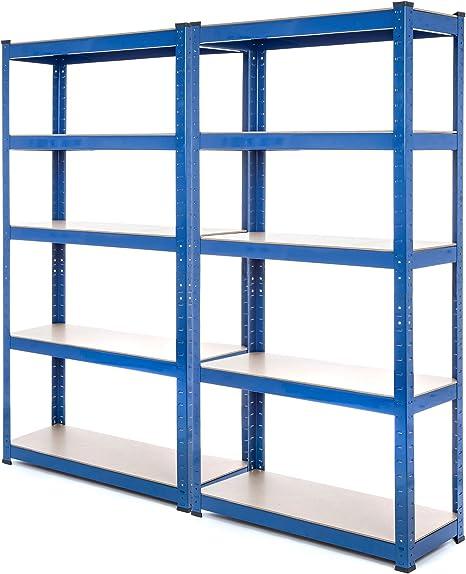 2 Bay estantería de acero resistente garaje estantería 150 kg por estante (5 niveles 1500 mm H x 750 mm W x 300 mm D) + entrega gratis al día ...