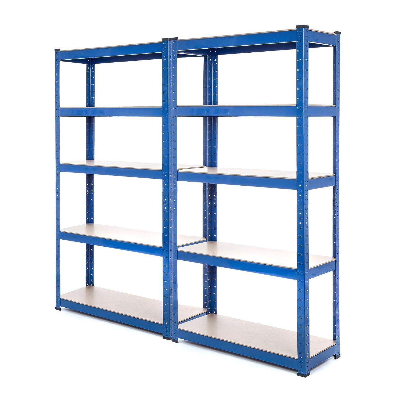 Racking Solutions - 2 unités de rayonnage / étagères garage en acier, charges lourdes, capacité de charge totale 1500kg (5niveaux 1500mm H x 750mm L x 300mm P) + Livraison Gratuite