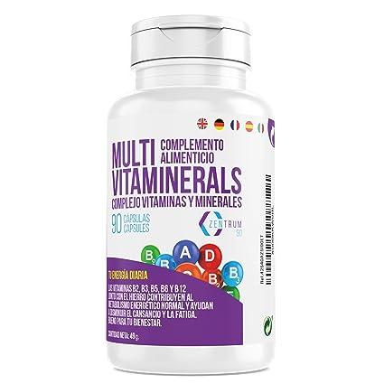 Complejo vitamínico con minerales, vitamina C, vitaminas B2, B3, B5, B6 y B12 y hierro - Multivitamínico para combatir el cansancio, la fatiga y ...