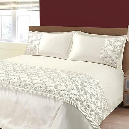 Zara crema bordado lentejuelas funda de edredón juego de cama solo doble King, beige,
